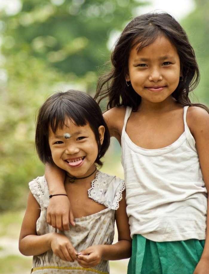 kids of the mishing tribe in Majuli, Assam