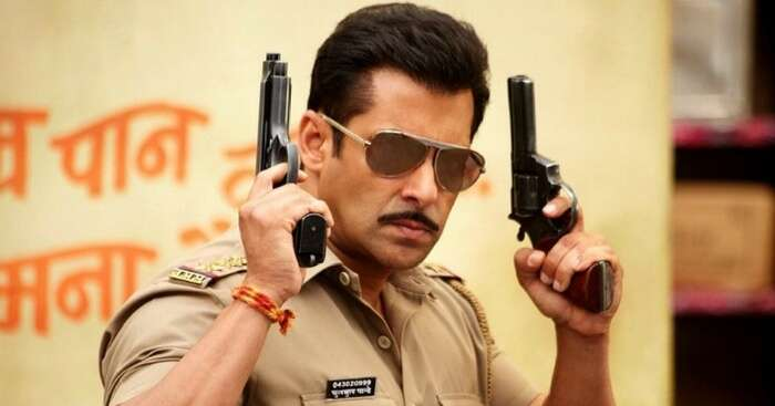 A still from a Bollywood movie depicting Salman Khan as a police officer
