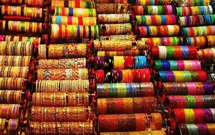 A bangle shop in Laad Bazaar in Hyderabad