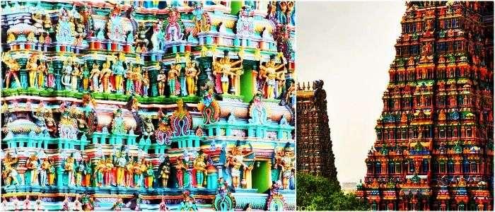 View of the Meenakshi Temple in Madurai