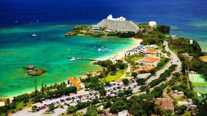 Tropical beaches in Okinawa in Japan