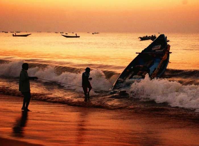 Sunset at Puri beach Orissa