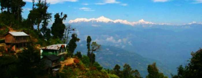 The gorgeous view of the snow capped himalayas from Rishyap