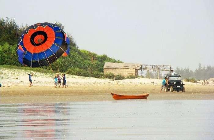 Parasailing at Tajpur Beach in West Bengal
