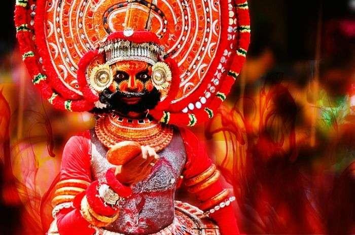 Theyyam being performed in Kerala