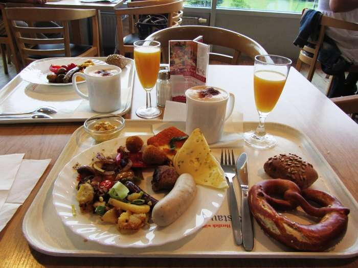 Meat, Juices, Salads, veggies make for a delectable German breakfast