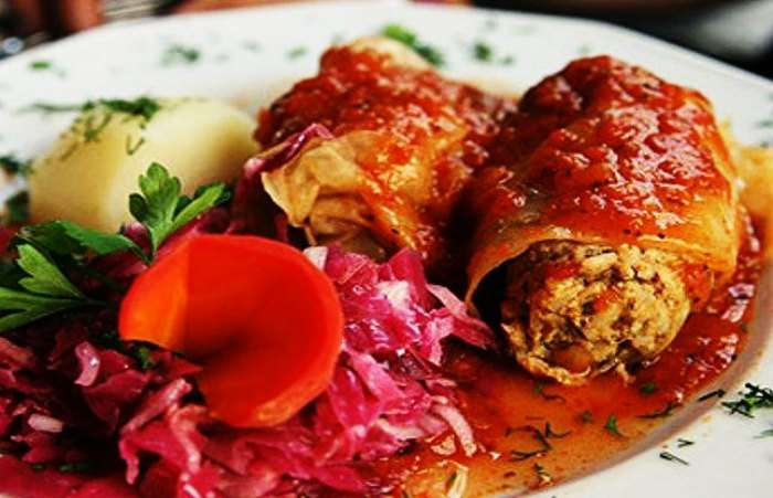 Taste meat and rice wrapped in perfectly boiled cabbage leaves in Poland
