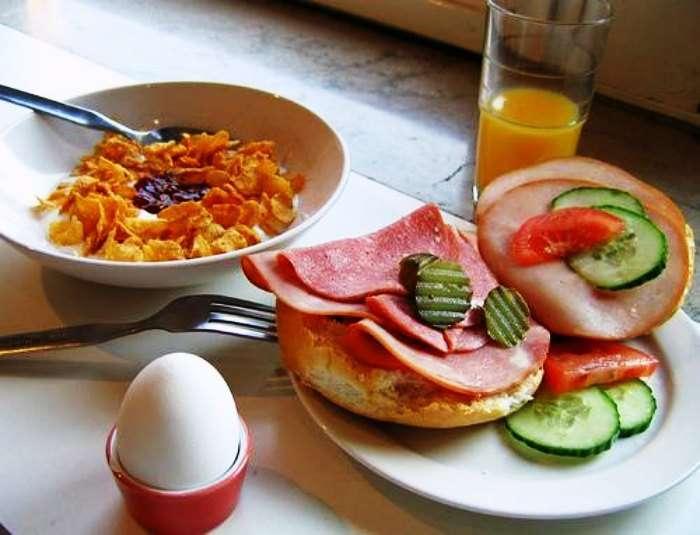 Fresh veggies, pancakes and eggs make for a perfect Swedish Breakfast