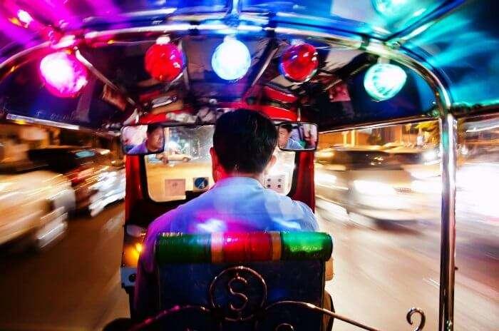 A night tuk tuk tour in Bangkok is a fun activity to witness the vibrant nightlife of Bangkok