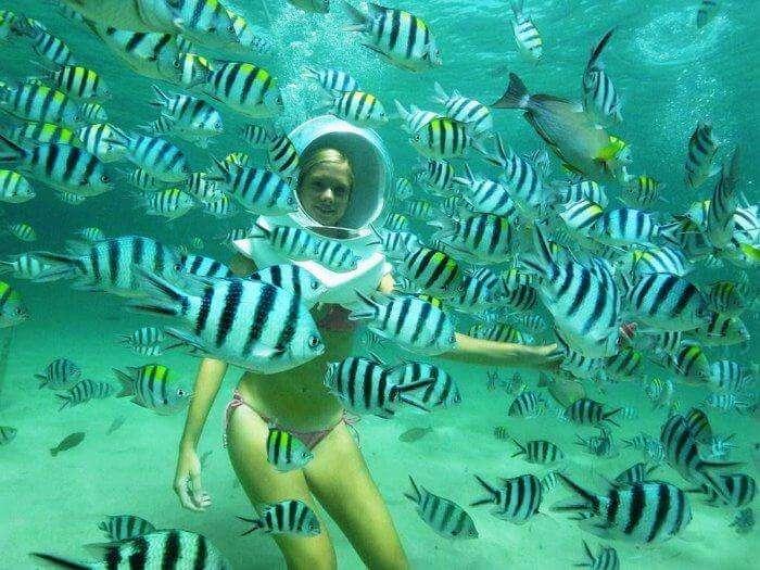 a girl enjoying undersea walk in andaman among sea fishes