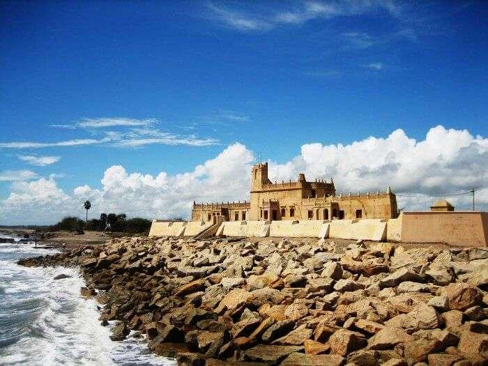 The stony beach in Tranquebar