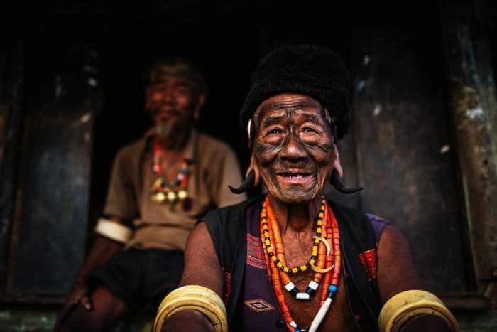 An elderly headhunter of the Konyak tribe in Nagaland