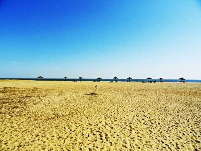 The white sands of Mandvi Beach in the Kutch region of Gujarat