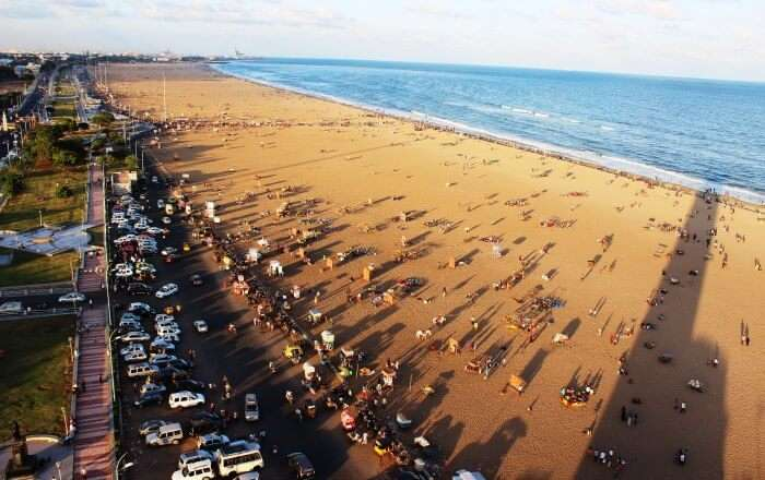 The longest beach in the country, Marina Beach in Chennai