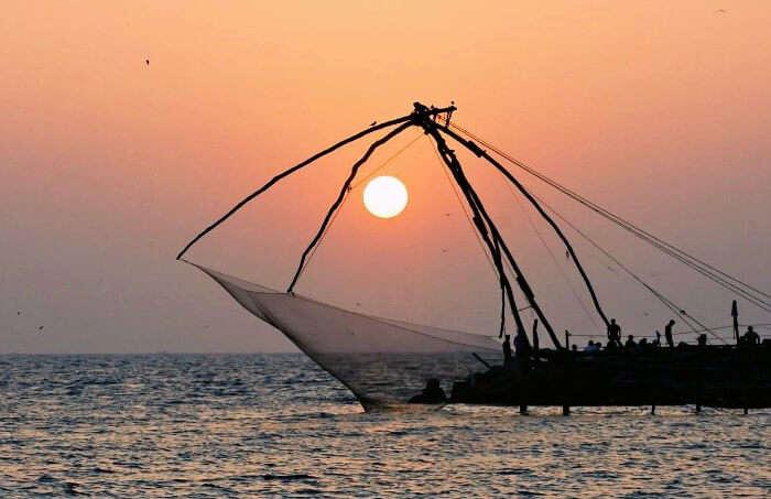 The Chinese fishing nets at Munambam Beach at Ernakulam