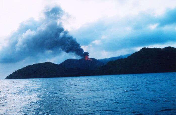 The smoldering volcano in Barren Island of Andaman
