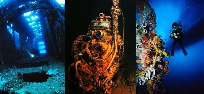 Explore the ship wrecks in Truk Lagoon in Micronesia