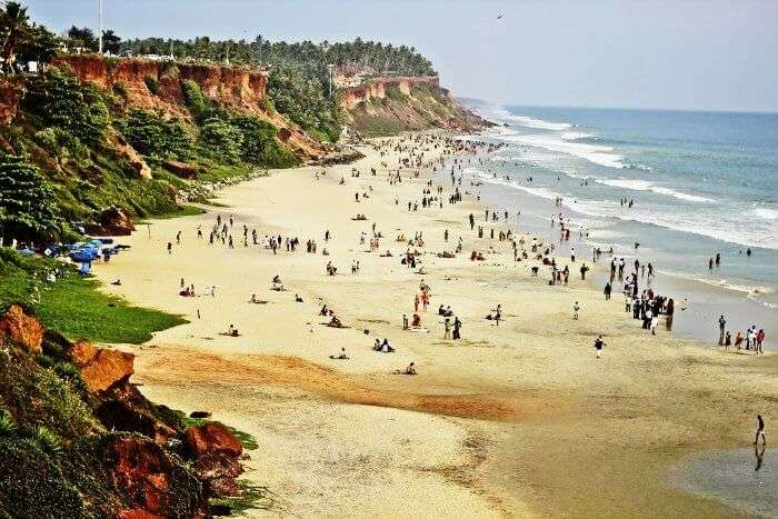 The view of the north cliff in Varkala beach