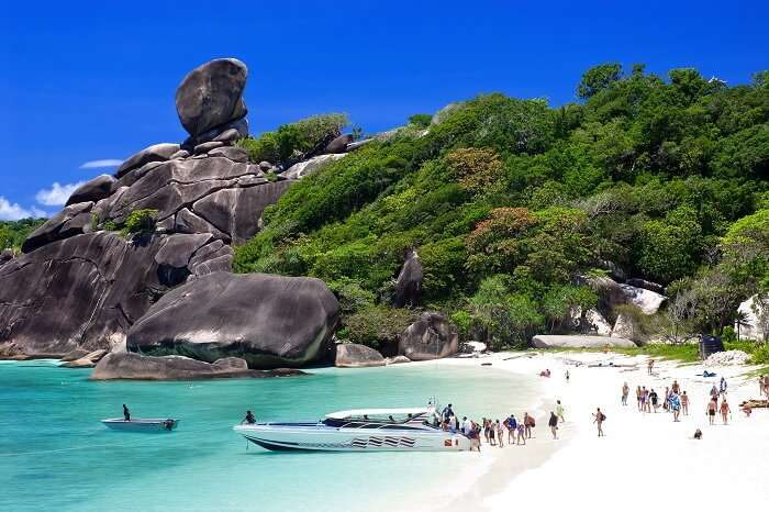 Tourists at a beautiful beach of the Similan Islands