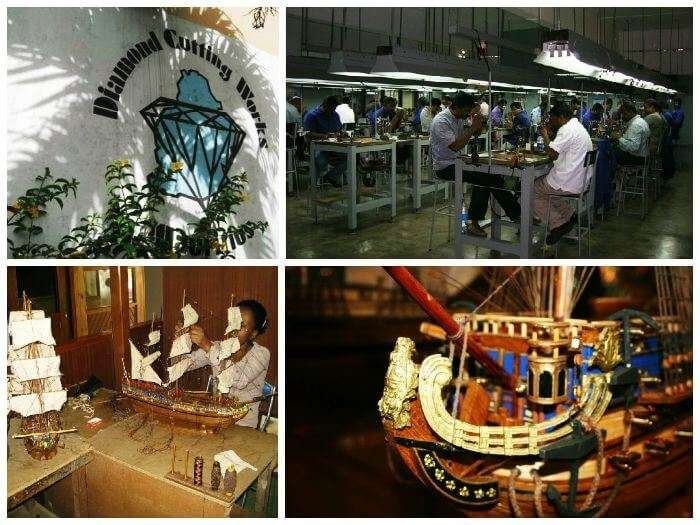 A glimpse of the diamond cutting factory and the model boat workshop at Floreal