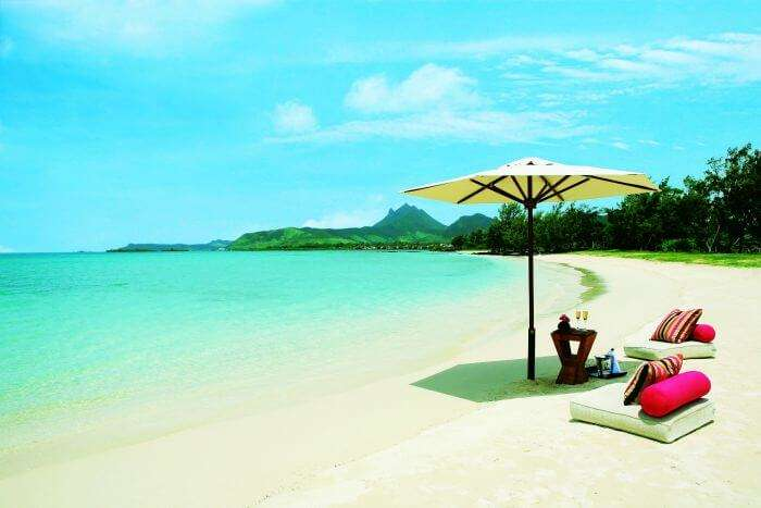 A relaxed beach setting arranged at Ile Aux Cerfs in Mauritius