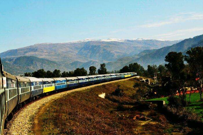 Kashmir Railway passing through the scenic route from Jammu to Baramulla