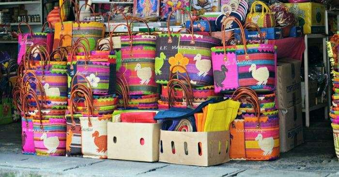 Crafty bags displayed at Port Louis Market