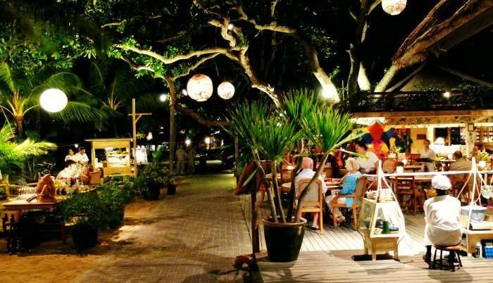 Tourists dining at Sanur night market in Bali
