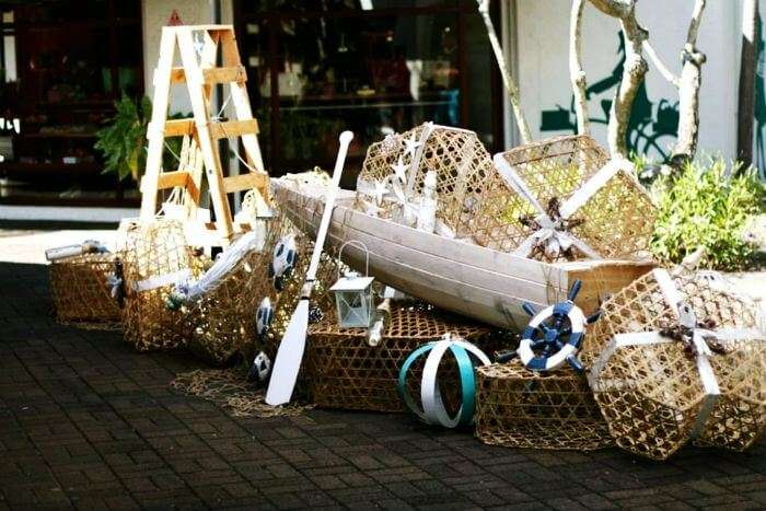 Wooden boat crafts at Sunset Boulevard in the Grand Baie