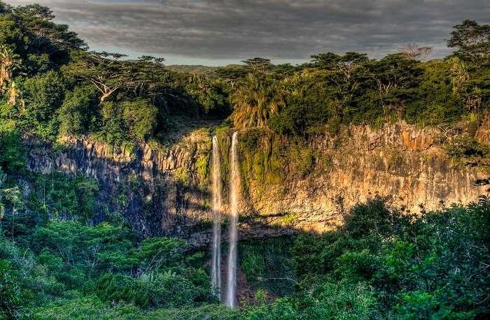 The beautiful Tamarind Waterfalls in Mauritius