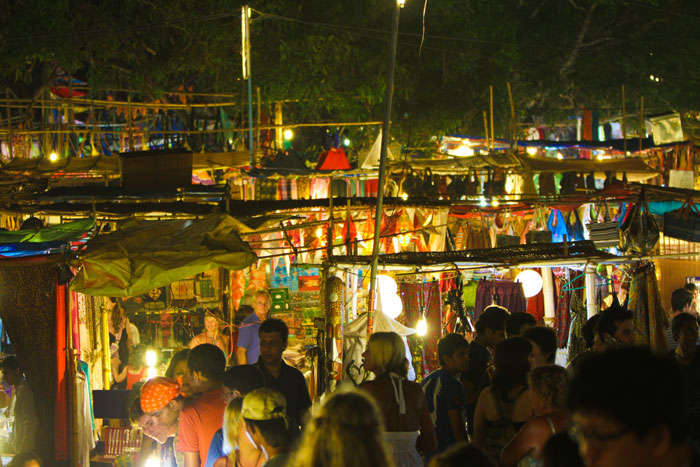A flea market at night near Arambol Beach