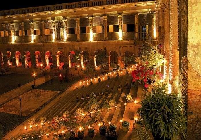 A night view of Rajbari Palace, Bawali