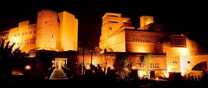 A view of F fort resort at night