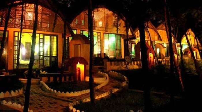 A view of the beautiful resort entrance at night
