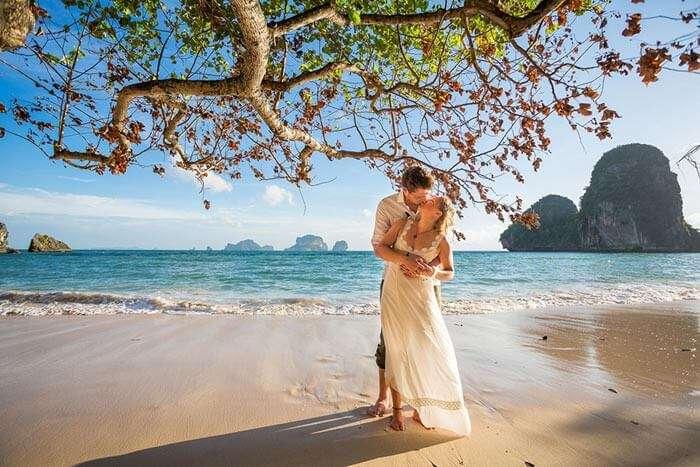 A couple on the beach of Phuket, Thailand
