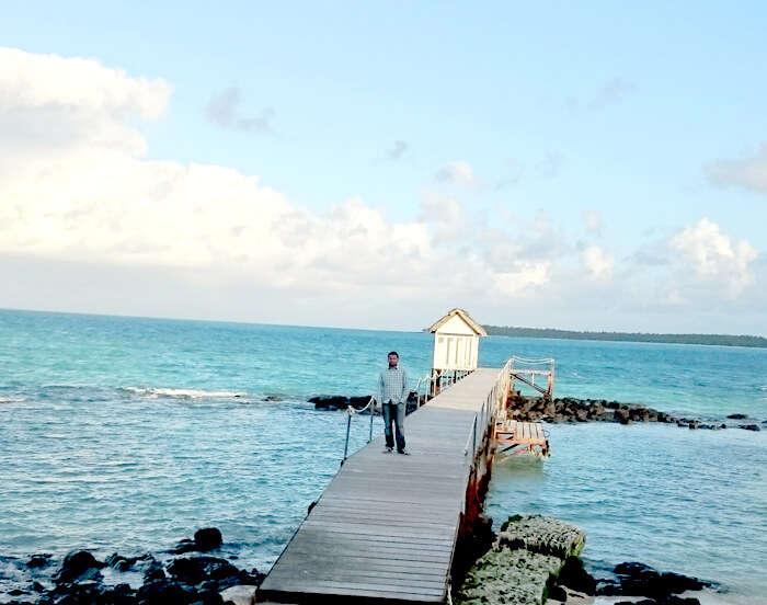 Harshvardhan enjoying the beauty of the serene blue sea at Ile Aux Cerfs