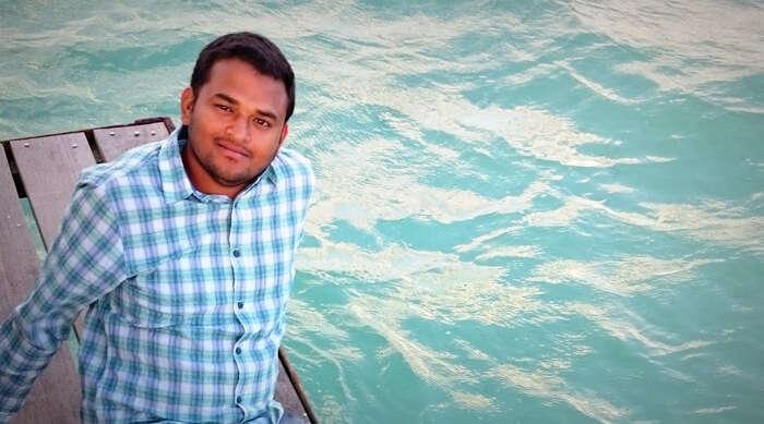 Harshvardan relaxing at a beach in Mauritius