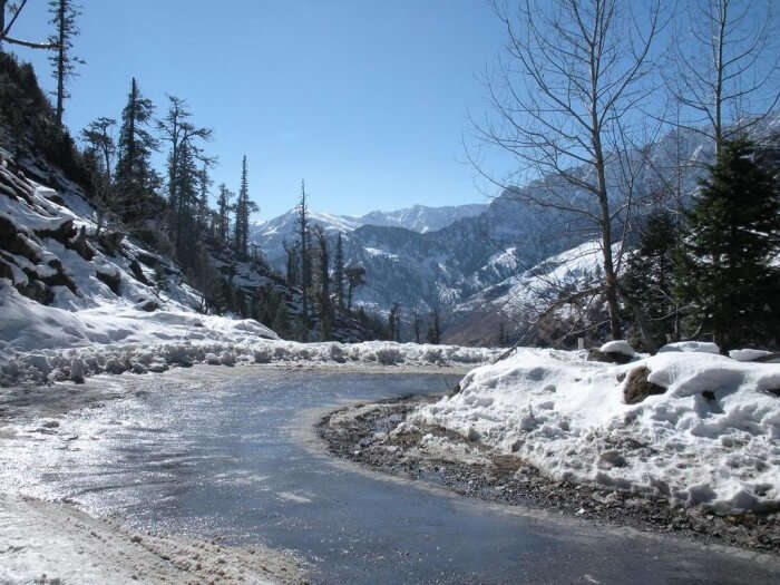 Snow covered road in Dharamshala