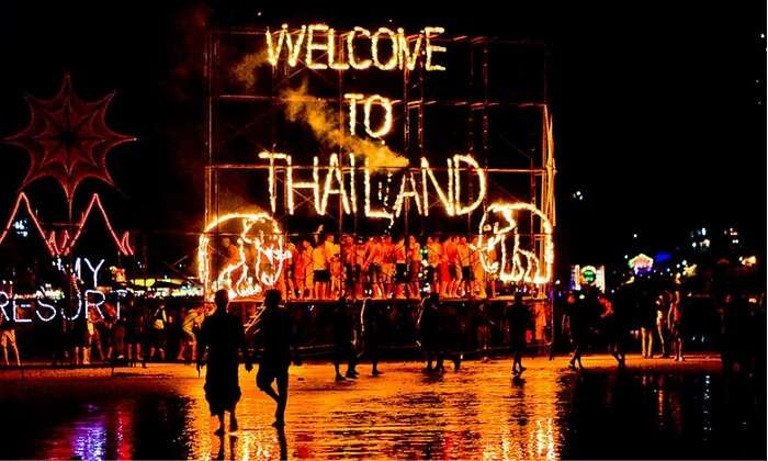 Fireworks at the Full Moon party in Thailand