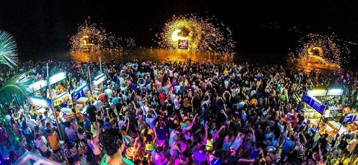 Crowd enjoying the music madness at Full Moon party in Thailand