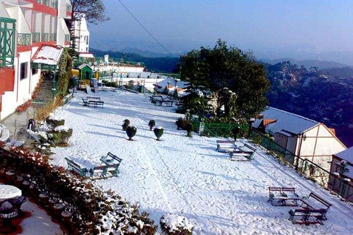 Snow-covered morning at Kasauli resort - a beautiful hill resort near Chandigarh
