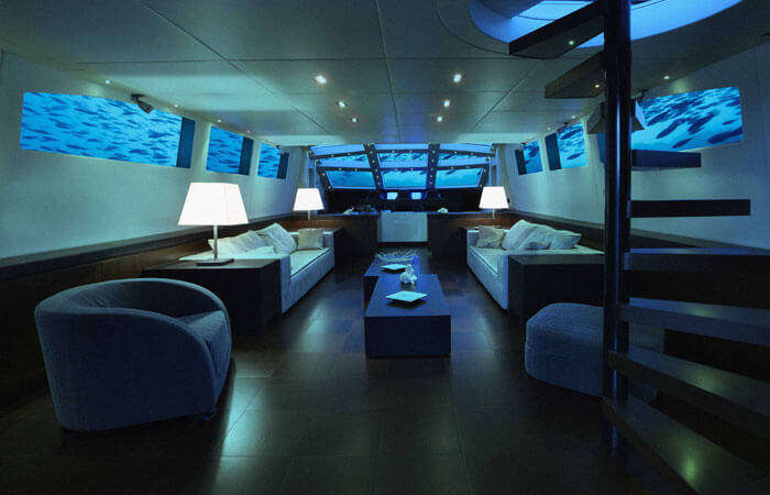 A luxury suite at Lovers Deep - an underwater hotel in Caribbean