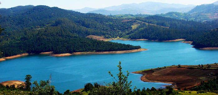 The bird's eye view of Ooty Lake in Tamil Nadu