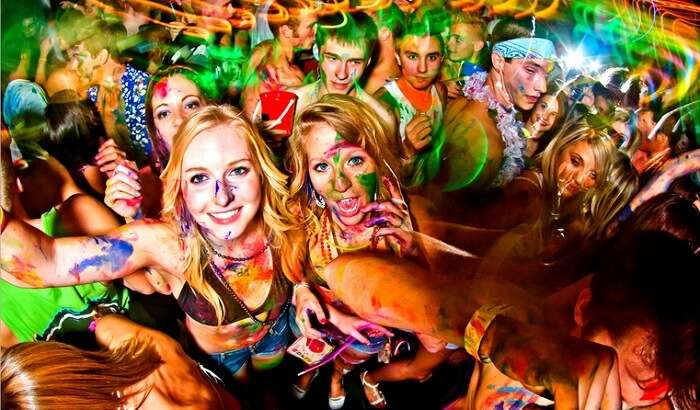 People partying at Full Moon party in Thailand