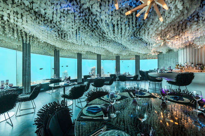Bar in one of the awesome underwater hotel in Maldives