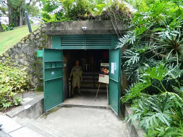 The entrance to Battle Box – one the historical places in Singapore which are underground