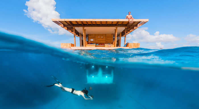This is among the clear blue underwater hotels in the world