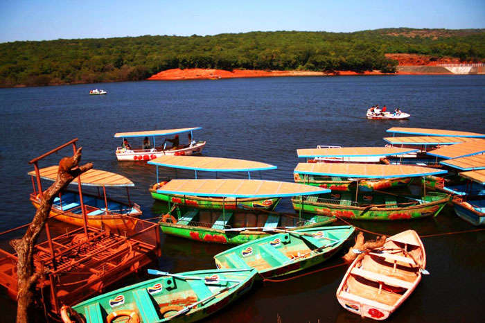 Colorful boats at Venna Lake in Maharashtra