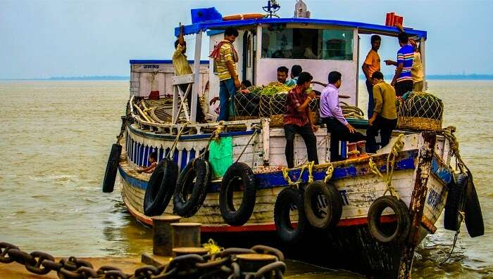 A boat ride in the Ganga river delta at Diamond Harbor
