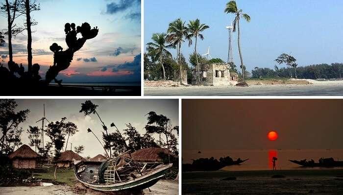 Many views of the Frasergunj beach near Kolkata